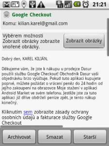 E-mail s potvrzením o provedeném nákupu