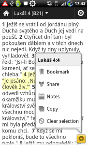 Bible - menu verše
