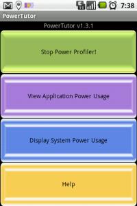 Hlavní okno aplikace PowerTutor
