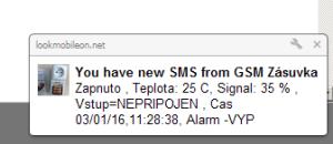 Oznámení na ploše o příchozí SMS