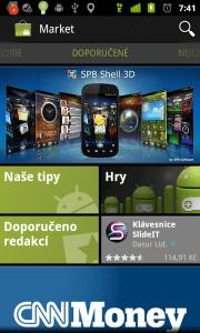 Nechybí Android Market, ve kterém najdete nepřeberné množství programů