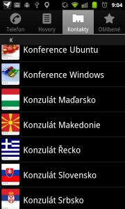 Kontakty jsou prezentovány ikonou a jménem