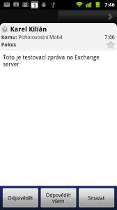 Zobrazení e-mailové zprávy v aplikaci E-mail