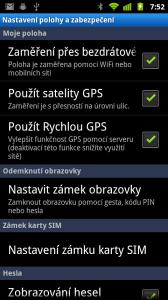 V nastavení GPS najdete tři možnosti
