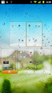 Náhled, ve kterém můžete měnit pořadí domovských obrazovek, případně je odstraňovat