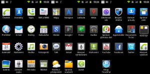 Seznam všech aplikací nainstalovaných v telefonu