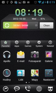 Takto vypadá Mobo Launcher po prvním spuštění