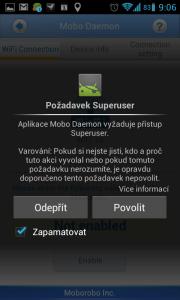 Mobo Daemon požádá o udělení rootovských práv