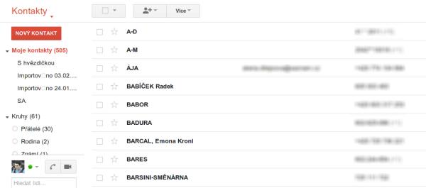 Obrázek jak importnout kontakty do googlu