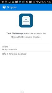 Připojení cloudového disku Dropbox