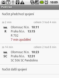 Výsledky vyhledávání se zpožděním vlaku