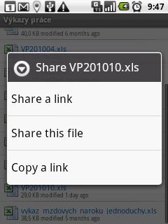 Možnosti sdílení souborů