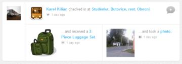 Na webu lze sledovat, co jsem na daném místě dělal. Zde jsem dostal nějaká zavazadla a udělal fotku.