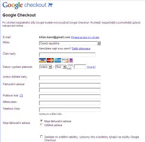 Vyplnění formuláře Google Checkout