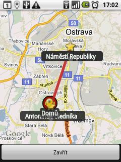 Zobrazení mapy trasy je spíše orientační