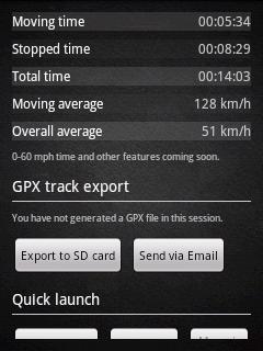 Statistiky a možnost exportu do GPX