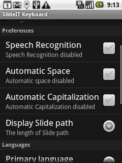 Klávesnici SlideIT je možné přizpůsobit svým potřebám