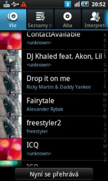 Přehrávač v Galaxy 3 - přehled dostupných skladeb