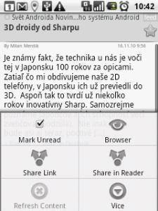Menu aplikace NewsRob