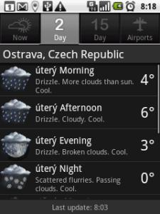 Předpověď počasí na následující dva dny
