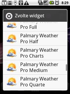 Široká nabídka widgetů na plochu
