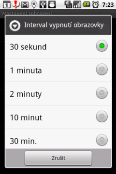 Snižte interval vypnutí obrazovky