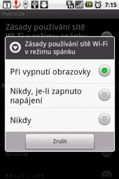 Změňte politiku spánku WiFi