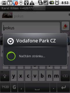 Odeslání zprávy přes Vodafone Park