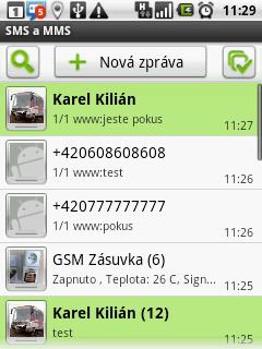 Seznam přijatých SMS zpráv