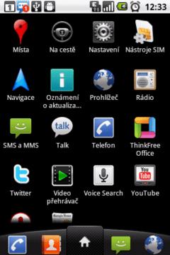 Aplikace v telefonu LG Optimus One
