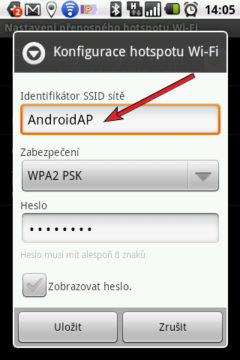 Identifikátor SSID sítě