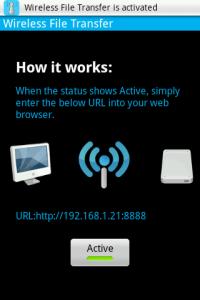 Tlačítkem spustíte server v telefonu a na displeji přečtete jeho adresu