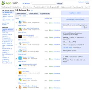 Webové rozhraní AppBrain