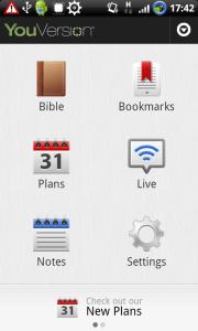 Bible - úvodní obrazovka