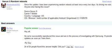 Google potvrzuje náhodné restarty Nexusu S
