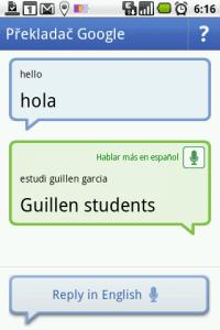 Režim konverzace v angličtině a španělštině
