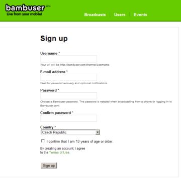 Registrace na webu Bambuser.com