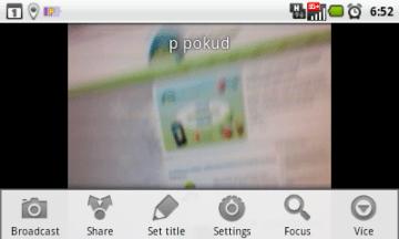 Úvodní obrazovka aplikace Bambuser
