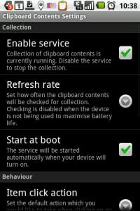 Nastavení aplikace Clipboard Contents