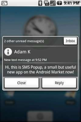 android sms popup