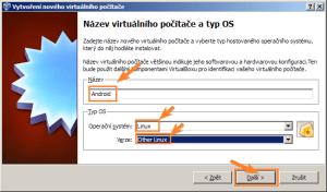 Zadání názvu počítače a výběr operačního systému