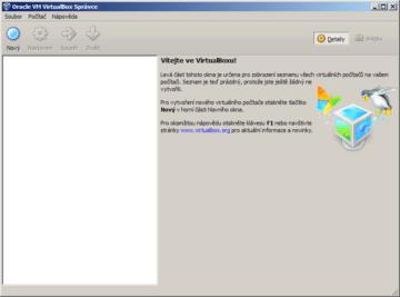 Úvodní okno VirtualBoxu