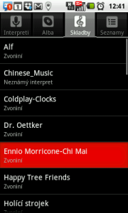 Seznam skladeb v telefonu