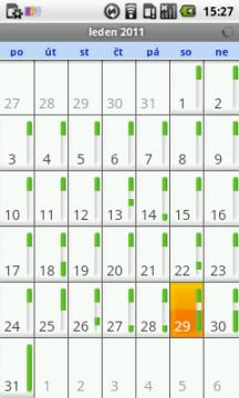 Kalendář zobrazující měsíční pohled
