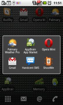 Seznam posledních šesti spuštěných aplikací