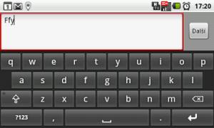 Klávesnice Android na šířku