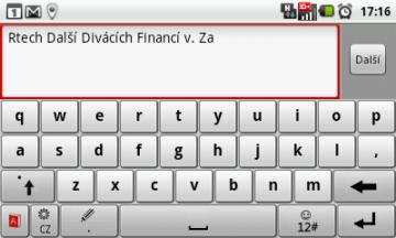 Klávesnice TouchPal v režimu na šířku - klasická QWERTY