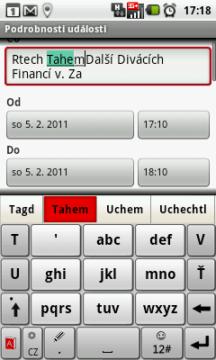 Klávesnice TouchPal v režimu na výšku s maticí 3x4