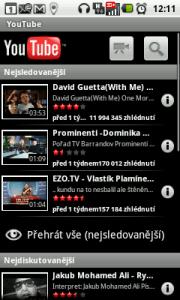 Úvodní obrazovka aplikace Youtube
