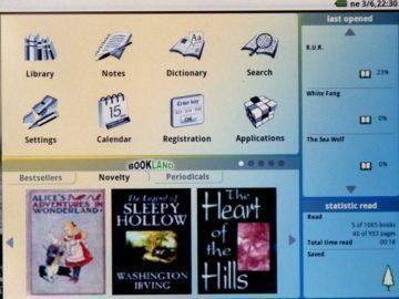 Hlavní obrazovka čtečky